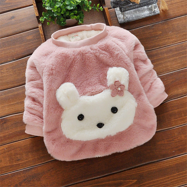 BibiCola Newborn Baby Girls Sweater Kids Cartoon Rabbit Thick Pullover Sweater Shirt Children Winter Warm Clothes Girls Outfits