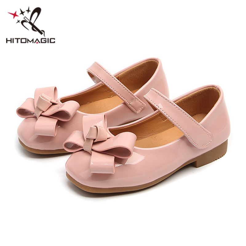 HITOMAGIC Girls Leather Shoes Girls Princess Kids Summer Sandals 2018 Fashion Bow Children Brand Flat For Party Soft Size 4
