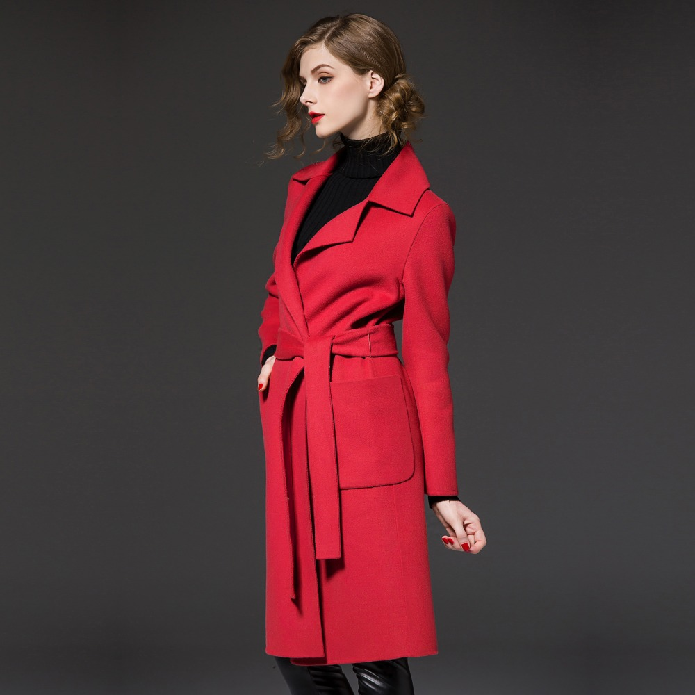 Women Brand Red Wool Coats 2019 Solid Color Adjustable Waist Big Pocket Business Women Autumn Spring Wool Outwear Plus Size