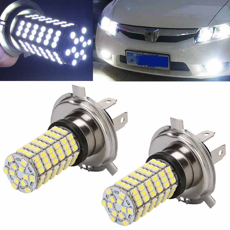 New 2pcs DC 12V H4 3528 120 SMD LED Car Auto Fog DRL Daytime Running Parking Driving Light Bulb White Low Beam Headlight Lamp highlight h3 12w 600lm 4 smd 7060 led white light car headlamp foglight dc 12v