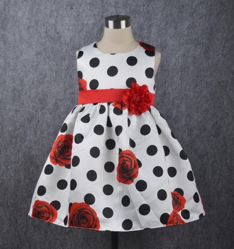 New Dot Baby Girl Dress Bunga Merah Tanpa Lengan Gaun Ulang Tahun - Pakaian bayi
