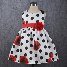 New Dot Baby Girl Dress Red Flower Sleeveless Birthday baby dresses Christmas Style Infant Dress vestido infantil 6M-4Y