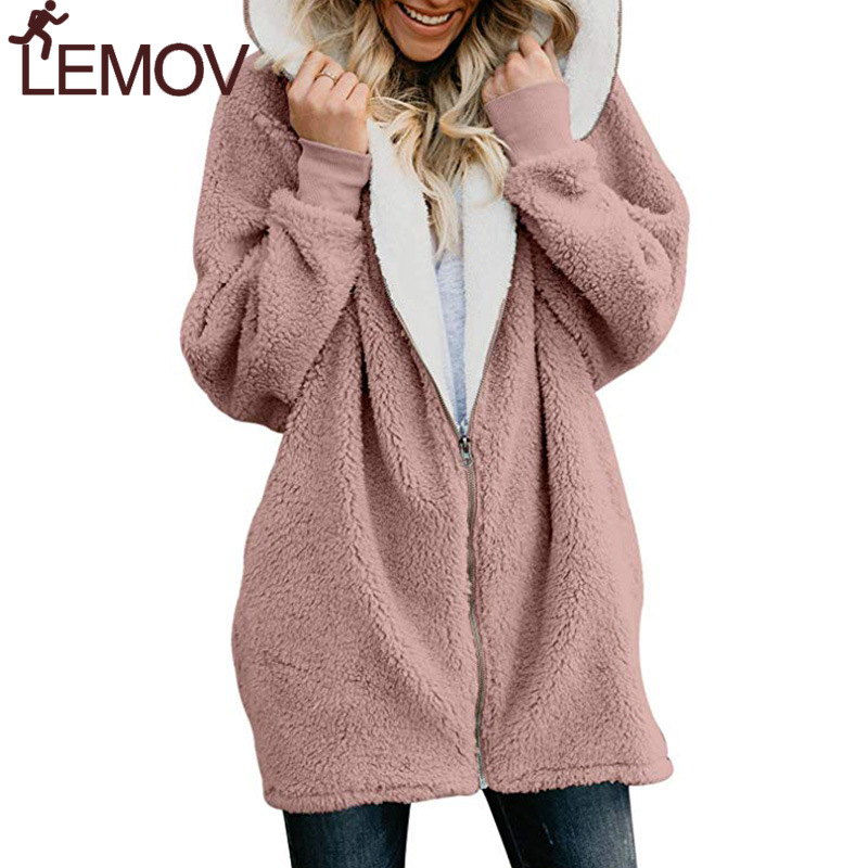 New Women Hoodies Zipper Girl Winter Loose Fluffy Hoodie Hooded Jacket Long  Warm Outerwear Coat Cute Sweatshirt Zip-up 5xl