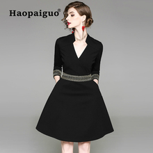 Europe Style Big Swing Winter Dresses Women 2018 V-Neck Work Office Dress Ladies Casual Black Mini Elegant Plus Size