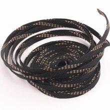 Для защиты кабеля в Оплетке 10 мм Черный + Золото Тесная Плетеный ПЭТ Расширения Рукава Провода Железы 10 М длинные