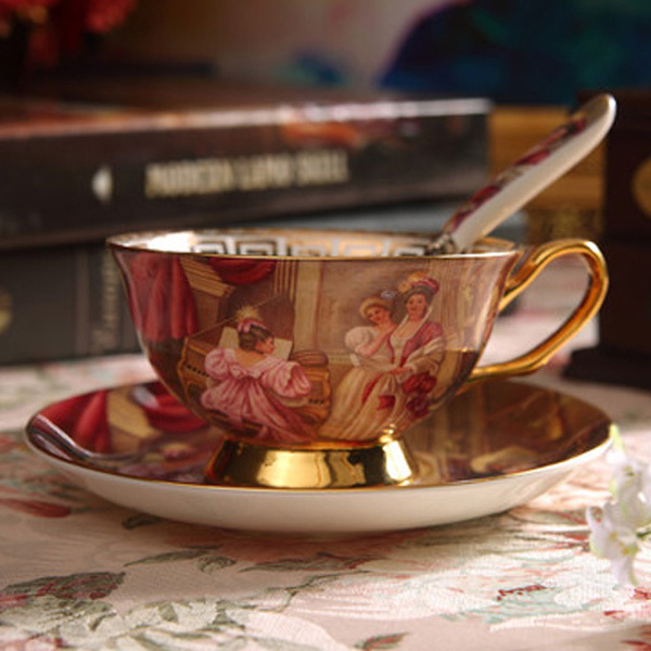 US $17 72 36% OFF|Luxurious Oil Painting Printing Ceramic Coffee Cup and  Saucer Advanced Bone China Porcelain Tea Wholesale ZCP 507-in Coffee Cups &