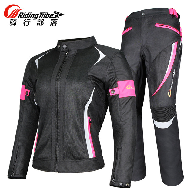 New Women Girl Motorcycle Jackets and Pants with 9pcs Protective Pads Wearable Reflective Detachable Waterproof Windproof Layer