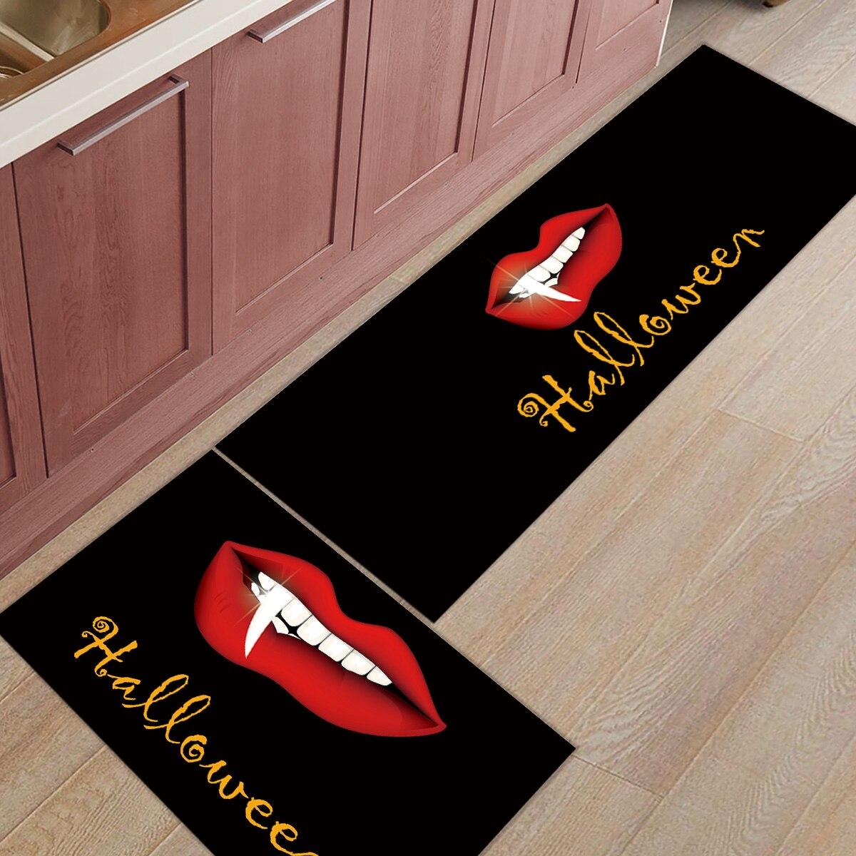 2 pièces cuisine tapis et tapis ensemble moderne Halloween rouge lèvres maison Deocr antidérapant zone coureur paillassons tapis