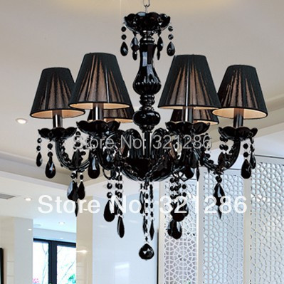Affordable Modern Chandelier Brief Black Candle Crystal Lamps Dining Room Light With Lamp Shades Factory