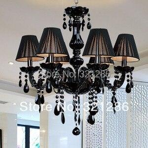 Image 3 - Lampadario moderno breve candela nera di cristallo lampada lampadario sala da pranzo lampade a luce con nero shades vendita diretta della fabbrica