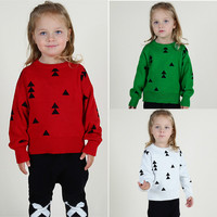 Free shipping hot-selling kids sweater triangle christmas tree knitted pullover children's clothing 1-5 years old baby clothes