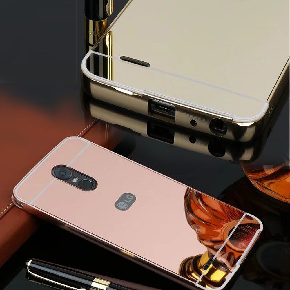 Fashion Makeup Mirror Case Aluminum Metal Frame PC Back Cover For LG Stylus 2 3 Stylo3 Stylo2 plus Aristo Phone protector Shell