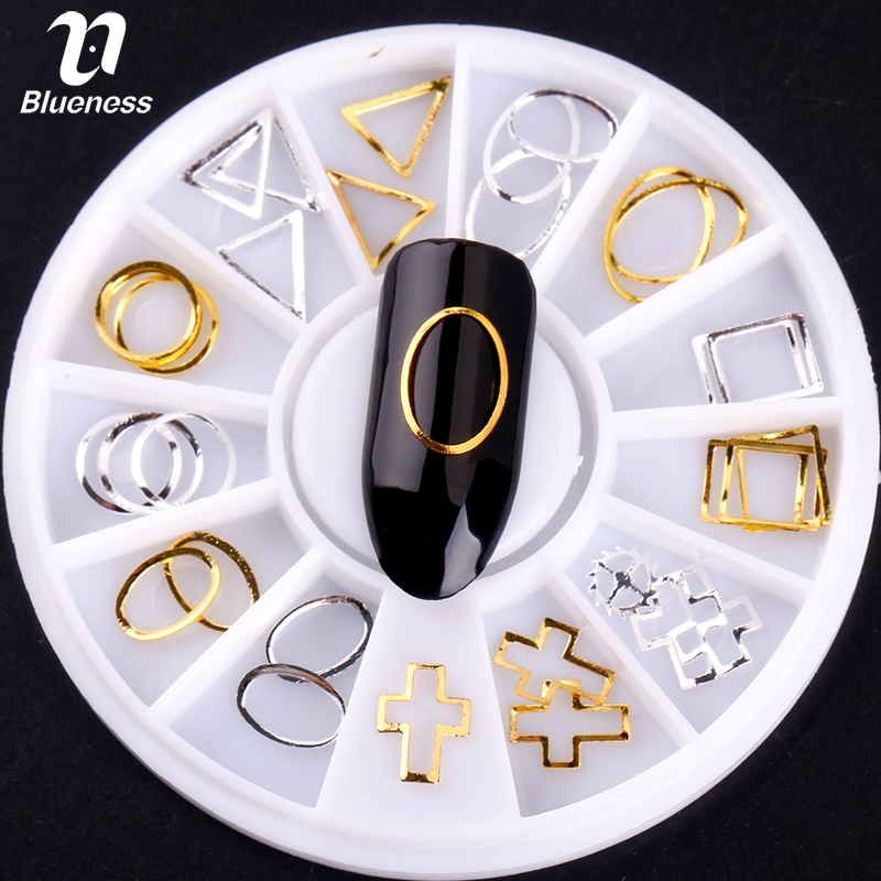 36 Pcs Triangle Square Cross Round Copper Nail Studs 3D Gold