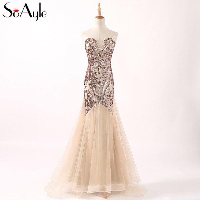 Soayle 2018 Sweetheart Evening Dresses Sequin Rose Gold Prom Dresses