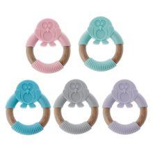 Baby Animal Silicone Teether Safe Organic Wood Teething Ring Chew Charms Newborn Sensory Toy