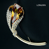 high quality female jewelry gold yellow Crystal Brooch pins female nasturtium flowers leaves Created cute lovers gfit
