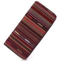 Sansarya 2018 Tribal Jacquard Woven Coffee Long Women   Wallet   Boho Ladies Card Holder Aztec Female Purse With Cupreous Zipper