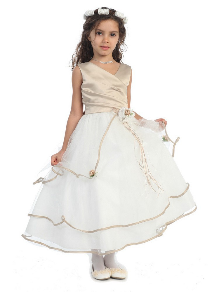 ФОТО Elegant New Flower Girl Dresses for Weddings 3 Colors Patchwork Sleeveless Patchwork Ball Gown Ruched V-Neck Kids Prom Dresses