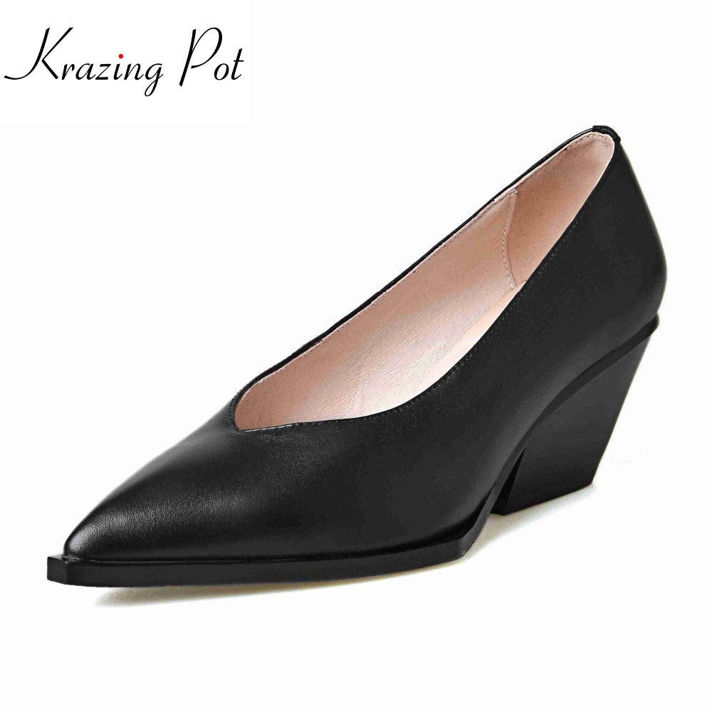 Krazing pot 2018 pointed toe cow leather slip on shoes high heel women pumps classic strange high street fashion shoes women L58