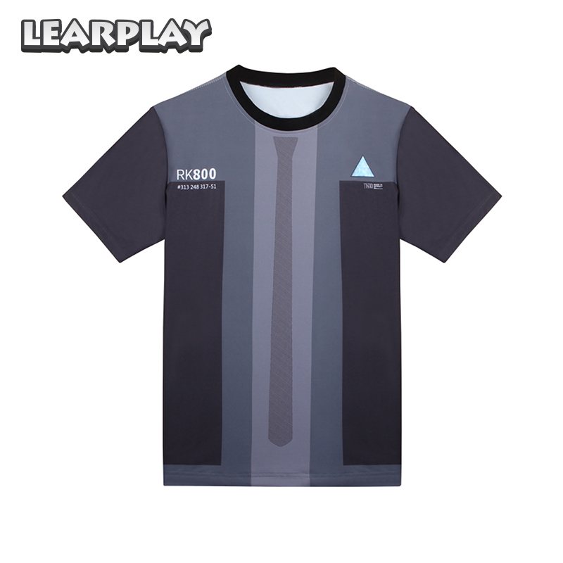 2018 Detroit Become Human Connor Coslplay T-shirt Halloween Costume for Men Women Summer Streetwear Tops Short Sleeve Tee Shirt