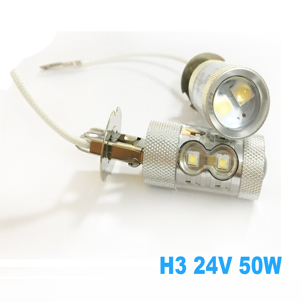 2 pcs H3 LED 24V Truck Light Bulb 50W White 6000K 10 LEDs Fog Lamp Tail Driving DRL Daytime Running Lights Only For trucks 3157 p27 7w 1200lm led bulb car fog light tail driving lamp drl daytime running reverse 100w 6000k white 3030 20smd 12v 24v 3156