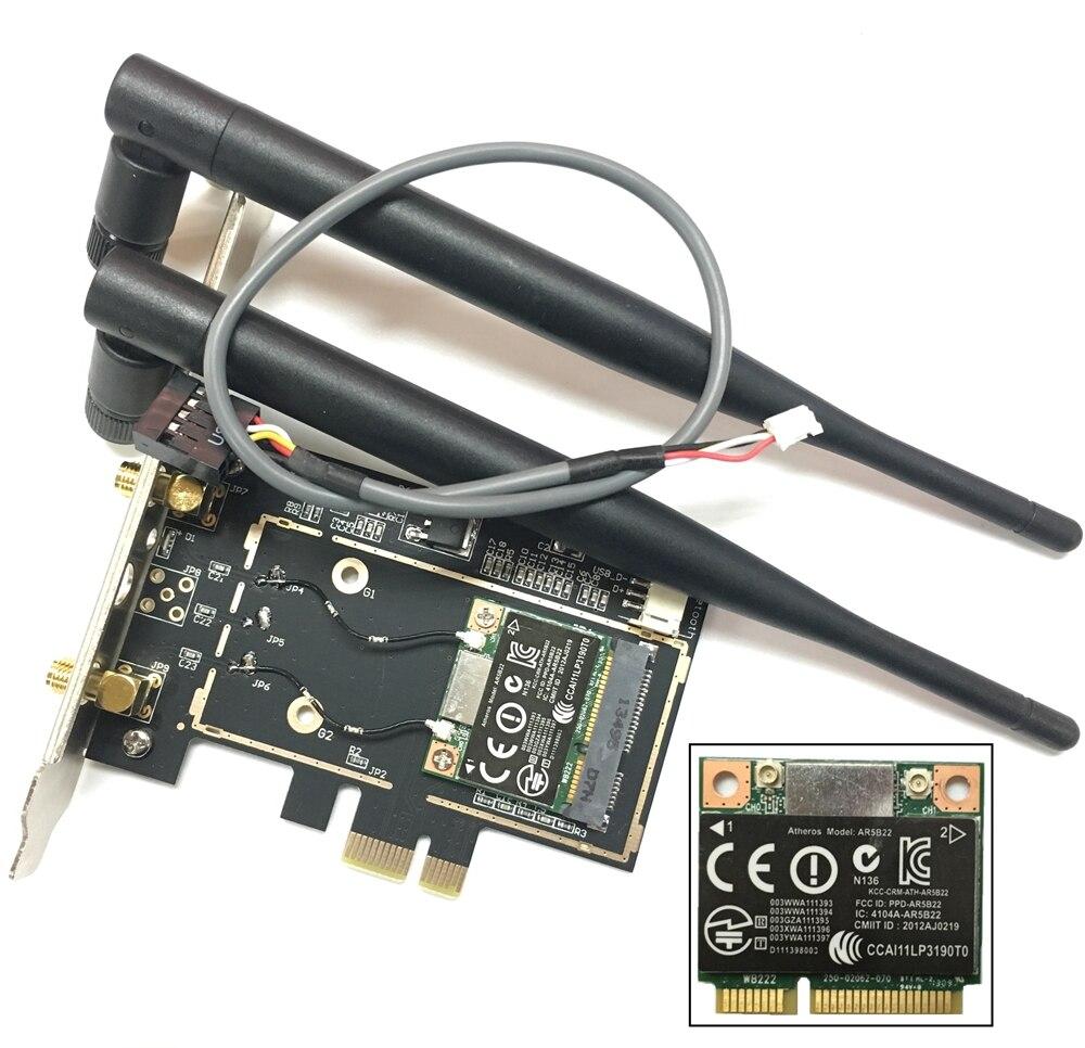 Atheros ar5b22 Bluetooth 4.0 Wi-Fi 300 Мбит/с Настольный карты мини PCIe для настольных ПК с 2 шт. Телевизионные антенны сетевой карты