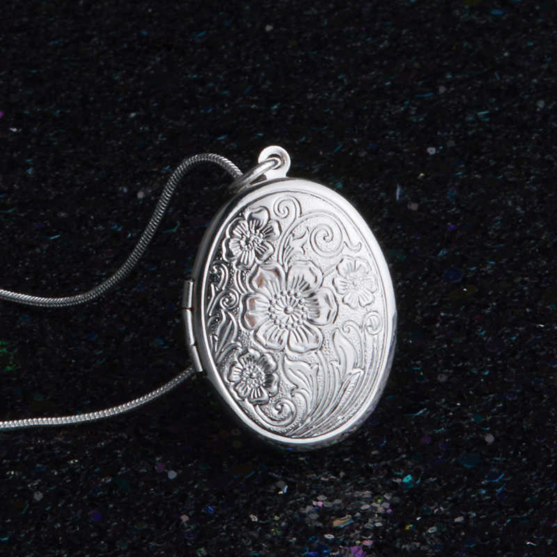 England Retro 925 Sterling Silver Necklace Round Open Locket Pendant Necklaces Photo Women Collar Jewelry