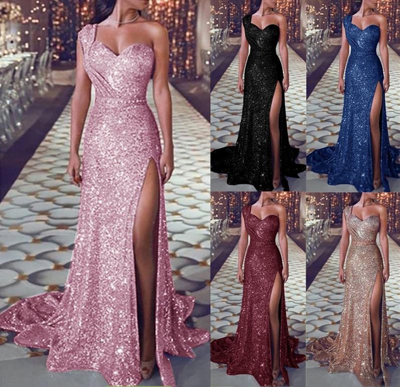 2019 Women Maxi Dress Elegant Beading Pink Blue Black Gold One-Shoulder Floor-Length Celebrity Party Bodycon Bandage Dresses