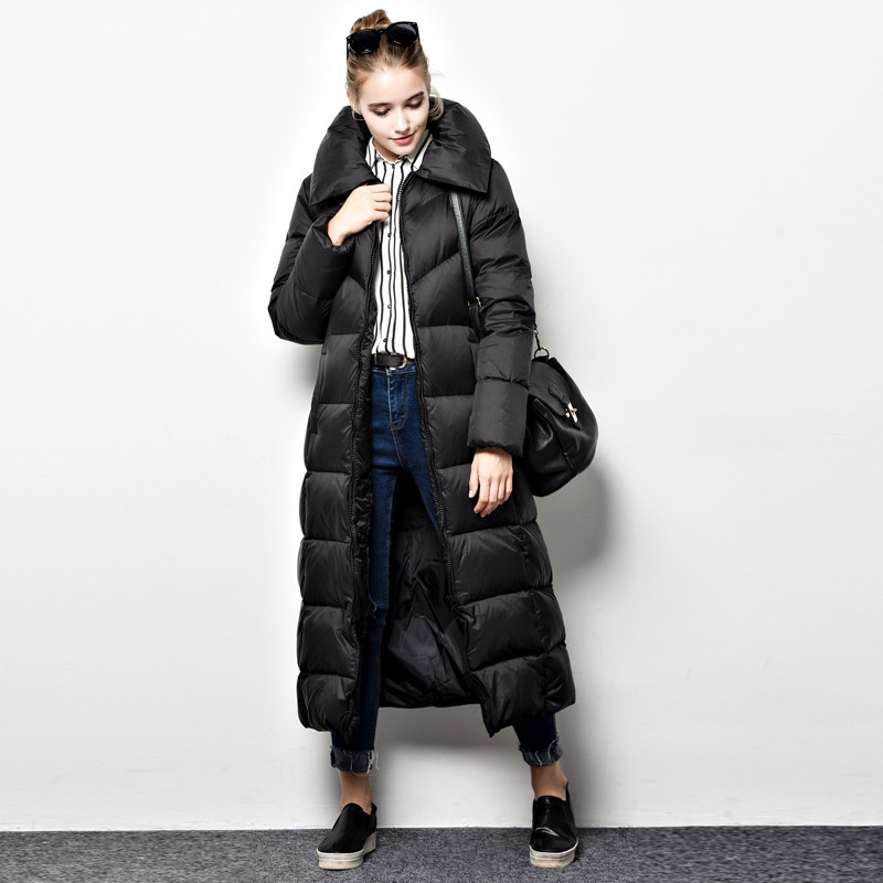 Women Winter Coat Over Knee Thick Long Parka Femme White Duck Down ...