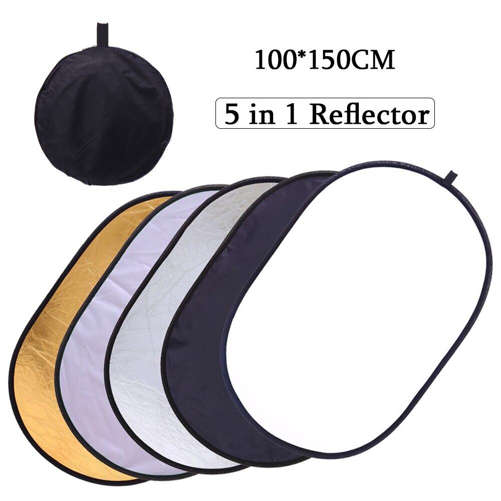 100*150 cm 5 dans 1 Portable Pliable Studio Photo Pliable Multi-Disque Lumière Éclairage Photographique Réflecteur avec sac de transport