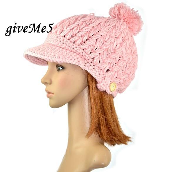 44c5b99a0b9 Women s Wool Winter Hat Thick Line Hat Ball Cute Hat Warm Flight Hat Peaked  Cap Free Shipping