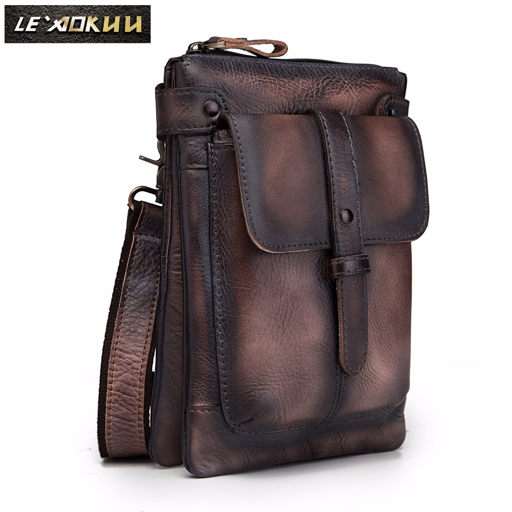 Leather Men Multifunction Designer Casual Crossbody Shoulder Messenger Bag Fashion Waist Belt Pack Bag Phone Tablet Case 8711-db