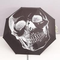 Skull Head Halloween Black Umbrella Portable Folding Rainy Umbrellas Wind Resistant Pencil Black Coating UV Clear Chinese Sun XX