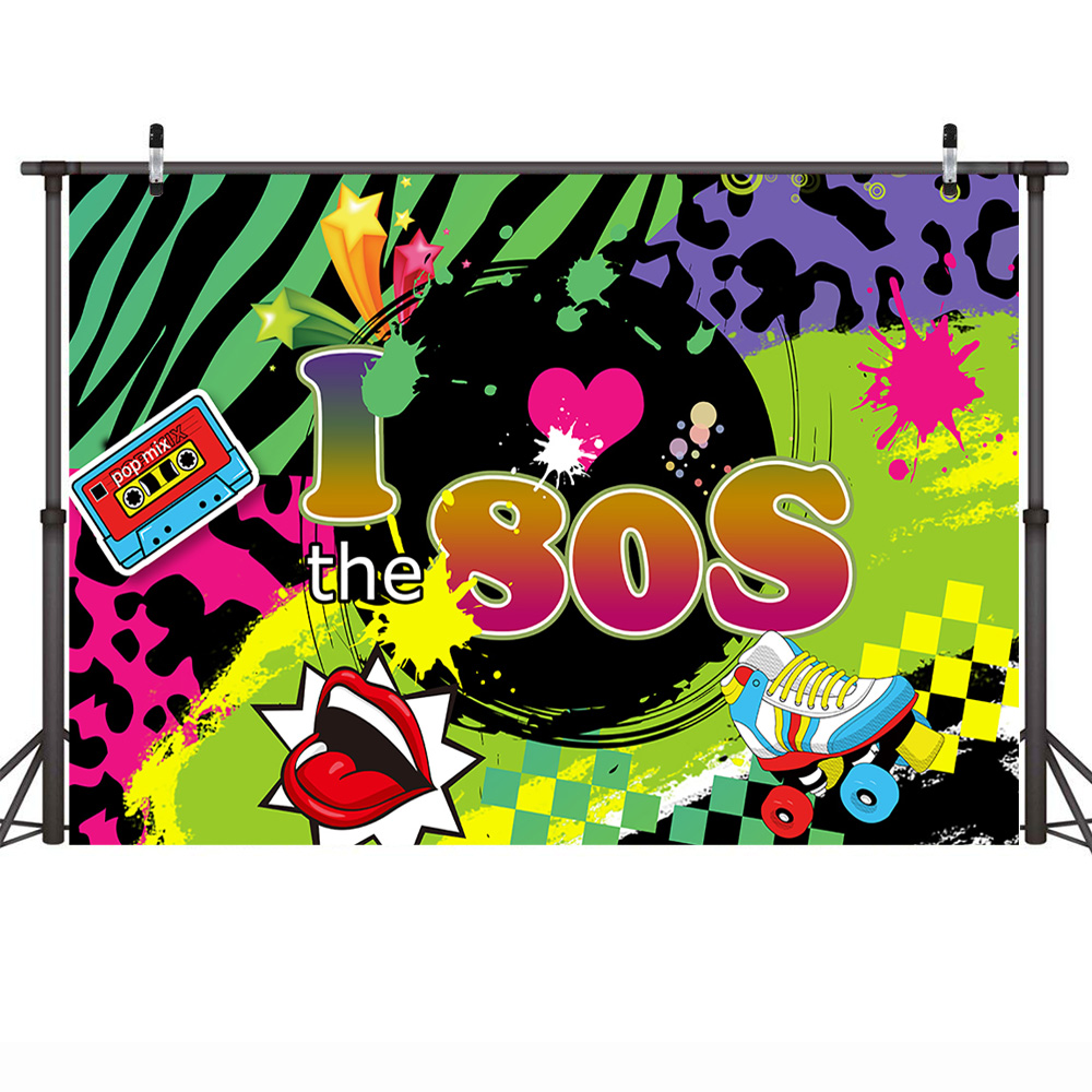 Mehofoto 80s Theme Photography Backdrops Birthday Back to 80s Party Poster  Background Graffiti Roller Skates Hip Hop Photophone