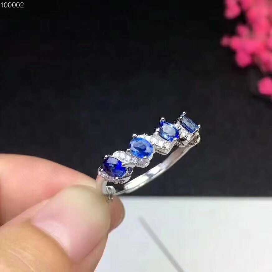 100% 925 sterling silver real Natural sapphire Rings fine Jewelry gift women open wholesale new 3*4mm dj030401agl100% 925 sterling silver real Natural sapphire Rings fine Jewelry gift women open wholesale new 3*4mm dj030401agl