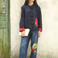 Spring chinese folk style women cotton linen dobby shirt long sleeve blouse coat jacket 3 colors
