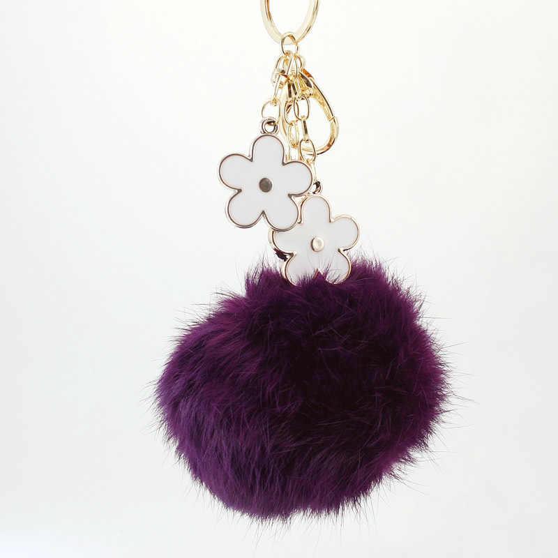 Dalaful 10 cm tamanho grande coelho pele bola flor chaveiros anéis titular saco bolsa pingente pompom chaveiros para carro k276