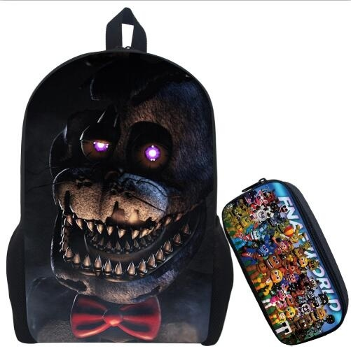 Five Nights At Freddy's Backpack Children Boys Girls Rucksack Cartoon Anime Five Nights At Freddy Backpack Bag With Pencil Bags
