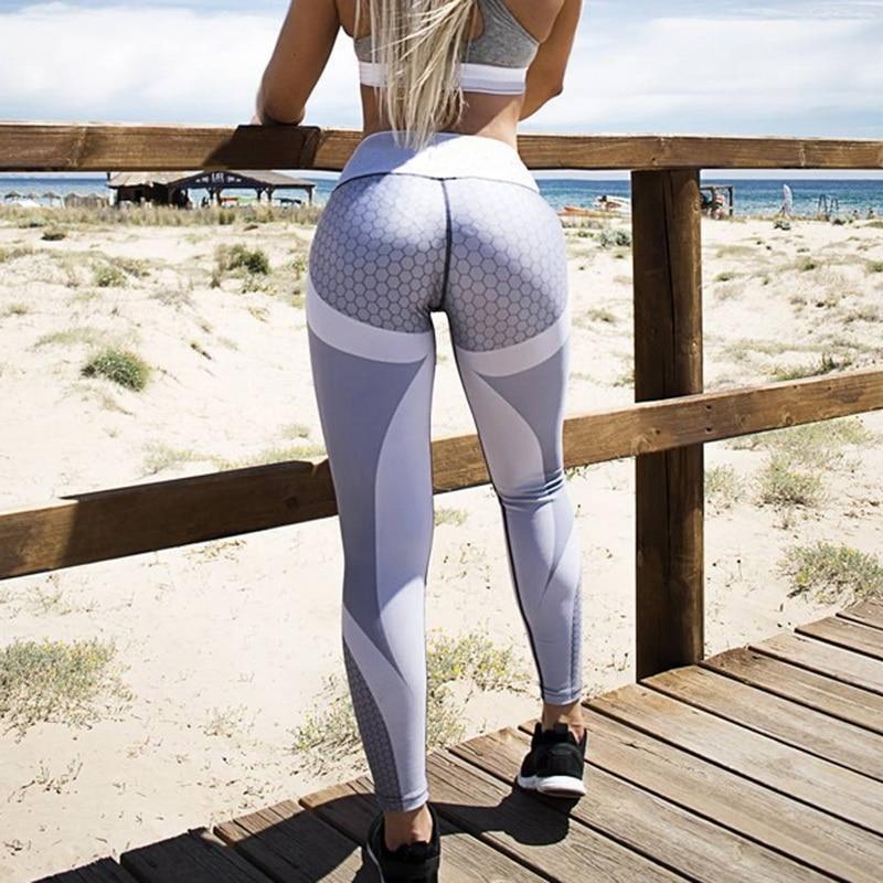 Laamei New Fitness leggings Women Mesh Breathable High Waist Sport Legins Femme Workout Legging Push Up Elastic Slim Sport Pants