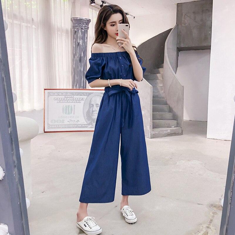 Wide Leg Denim Denim Jumpsuits Romper Off Shoulder Overalls for Women Blue Short Sleeve Female Streetwear 38