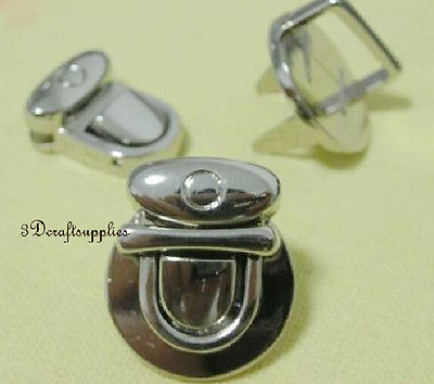 purse lock wallet Thumb latch tongue clasp silver 7/8 inch x 5/8 inch E55