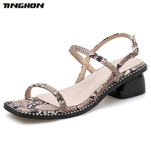 TINGHON Woman PU Novelty Serpentine Square High Heels Shoes Sandals Toe Buckle Strap Thin Belt White Black Size35-40