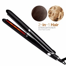 Professional 2 In 1 Hair Straightener Curler Flat Iron Hair Straighting Curling Iron Corrugation LED Display Hair Styling Tools 32mm ceramic anion hair curler comb hairbrush lcd curling straighting straightener brush roller iron fashion styling tools s34