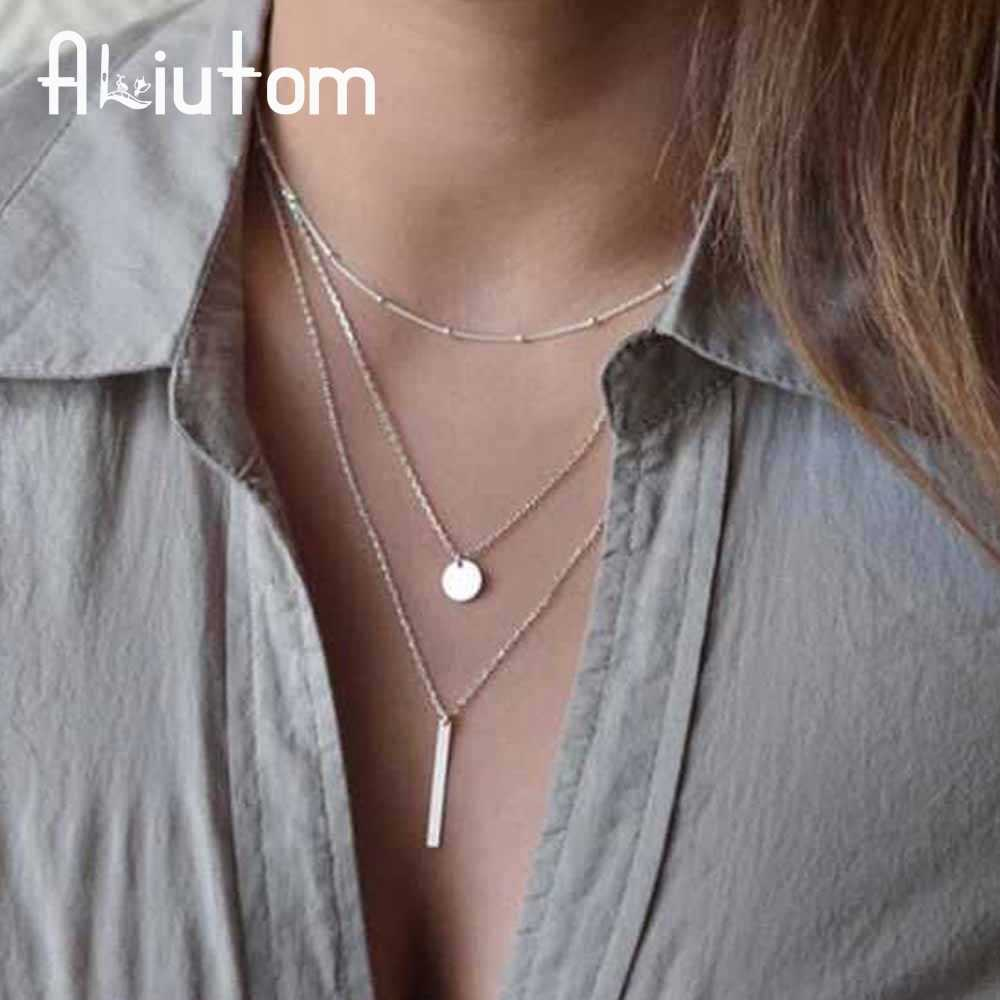 ALIUTOM 2017 Women's Fashion Jewelery Colar 1pc European Simple Gold Silver Multilayer Bar Coins Necklace Chainbone Chain