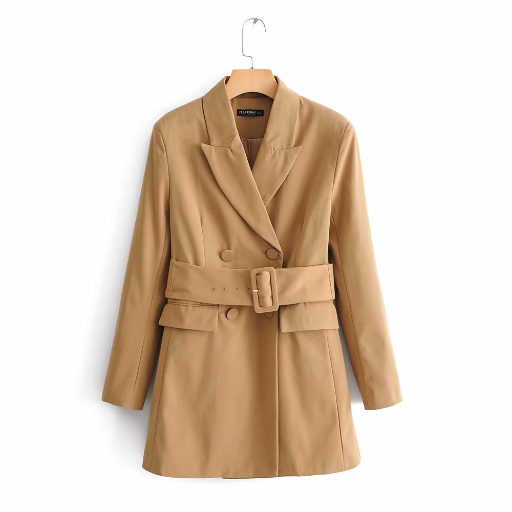 2019 Women Solid Color Double Breasted High Street Blazers Office Lady Long Sleeve Sashes Outwear Coat Casual Suits Tops CT205