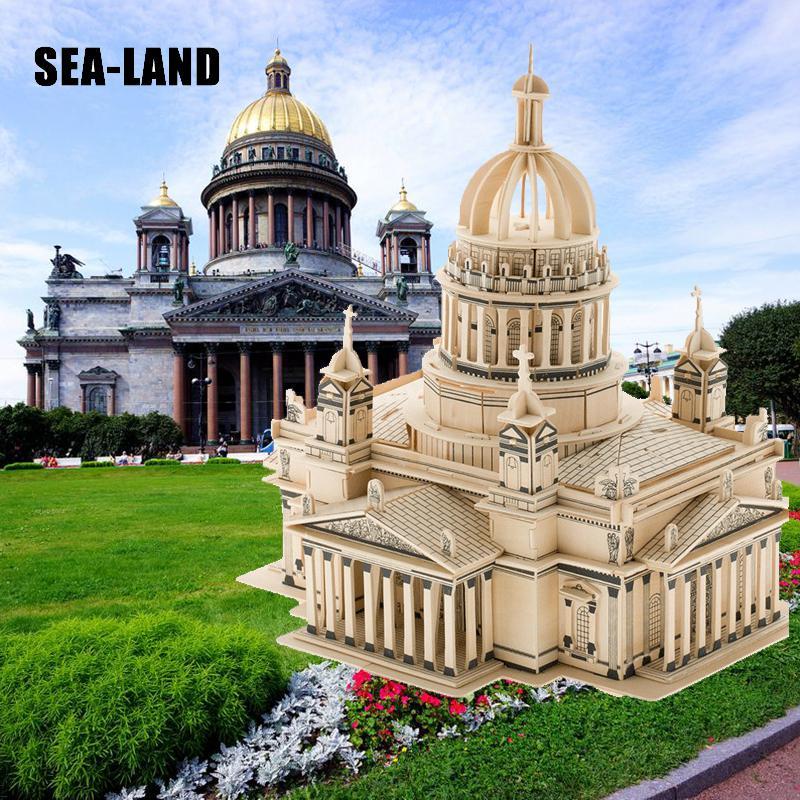 Puzzle en bois 3d modèle pour enfants et adultes le jouet pour enfants de la cathédrale Issa Kiev de la célèbre série de construction un meilleur cadeau pour les enfants