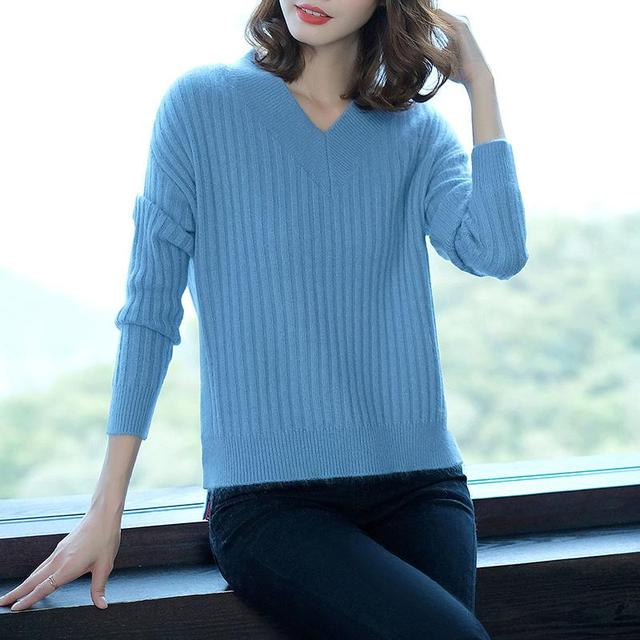 Hot Sale Winter Sweater Women 100% Pure Cashmere Knitwear New Fashion Vneck  Pullover Soft High Quality ladies Jumper Female Tops f40f34471edb