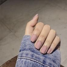 24 unids/set accesorios de uñas de imitación para mujer, uñas postizas rosas mate con pegamento de Color sólido, cobertura completa cuadrada corta, presionar sobre las uñas