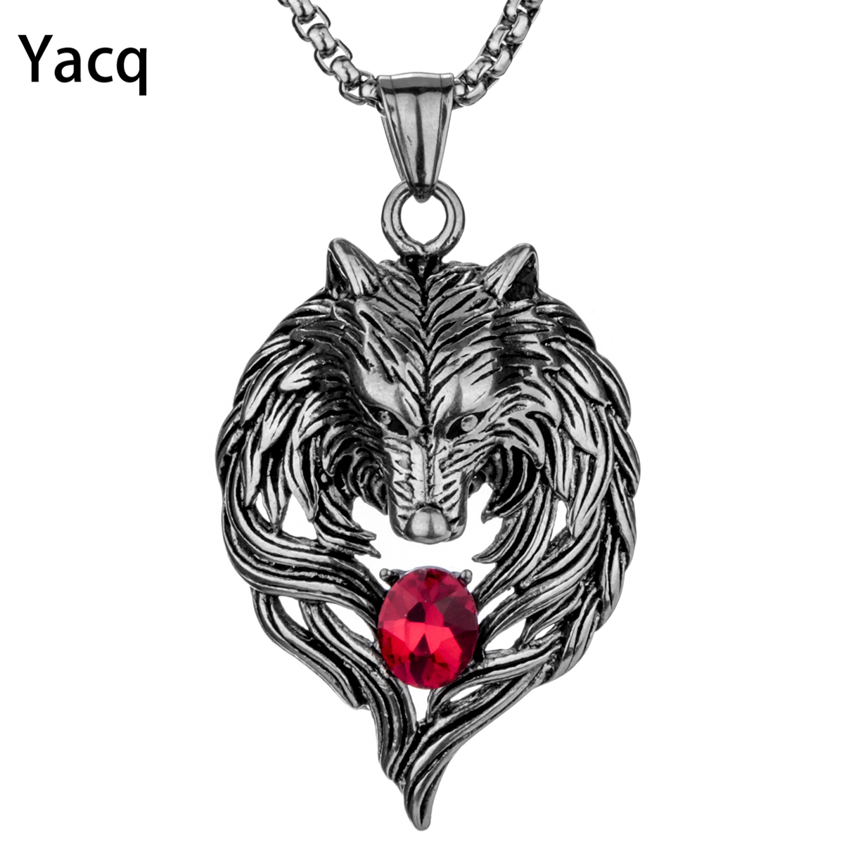 Yacq Wolf Stainless Steel Necklace for Men Women Pendant Chain Biker Jewelry Gift Fathers day Dad Him Her Mom dropshipping GN41