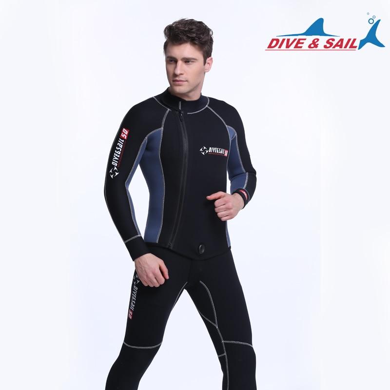 Wdsbody-Suits Sail Two-Piece Dive Men 5mm Submersible-Service Fabric-Split-Cap Diving